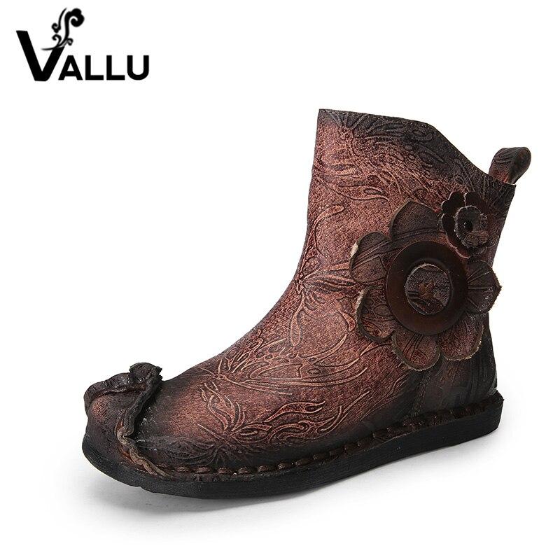 VALLU 2018 nuevo hecho a mano Vintage Mujer Zapatos tobillo botas cuero genuino flor mujer botas planas-in Botas hasta el tobillo from zapatos    3