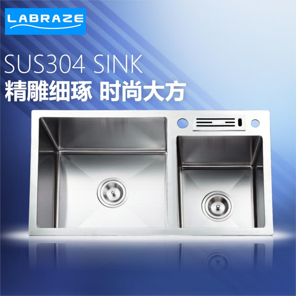 German kitchen sink dual slot thick 304 stainless steel sink Hand ...