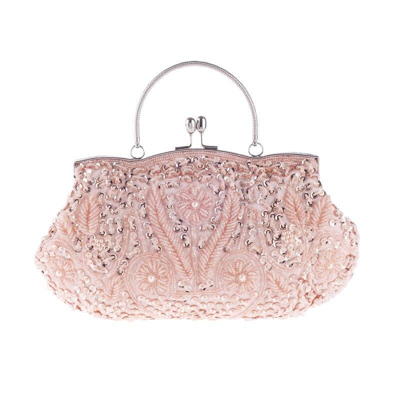 Women Evening Clutch Bags Wedding Bridal Handbag Pearl Sequin Beaded Fashion Rhi