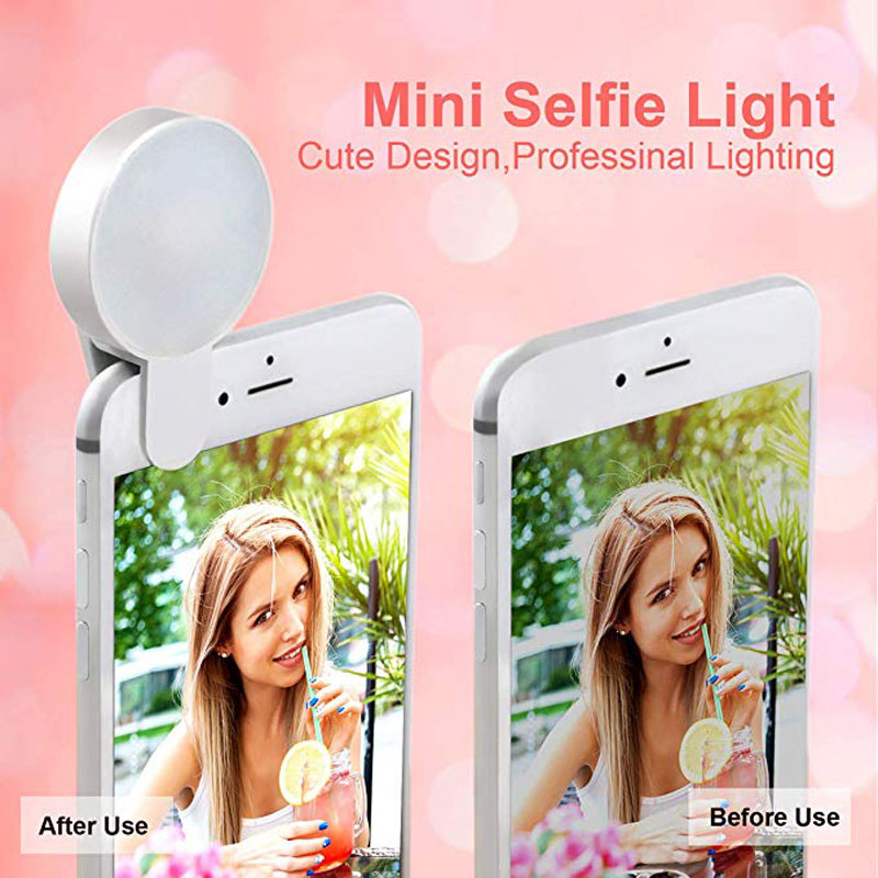 9 Led Camera Lamp Mobilephone Smartphone Rechargeable Ring Light Mini Selfie  Huawei Xiaomi Iphone Samsung White Color