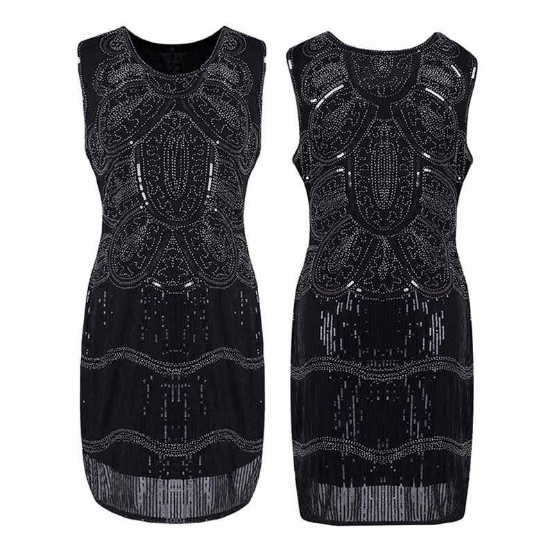 Women's 1920s Vintage Flapper Dress Dazzling Sequins Beaded Great Gatsby Costume Roaring 20s Party Retro Mini Dress 2018 New