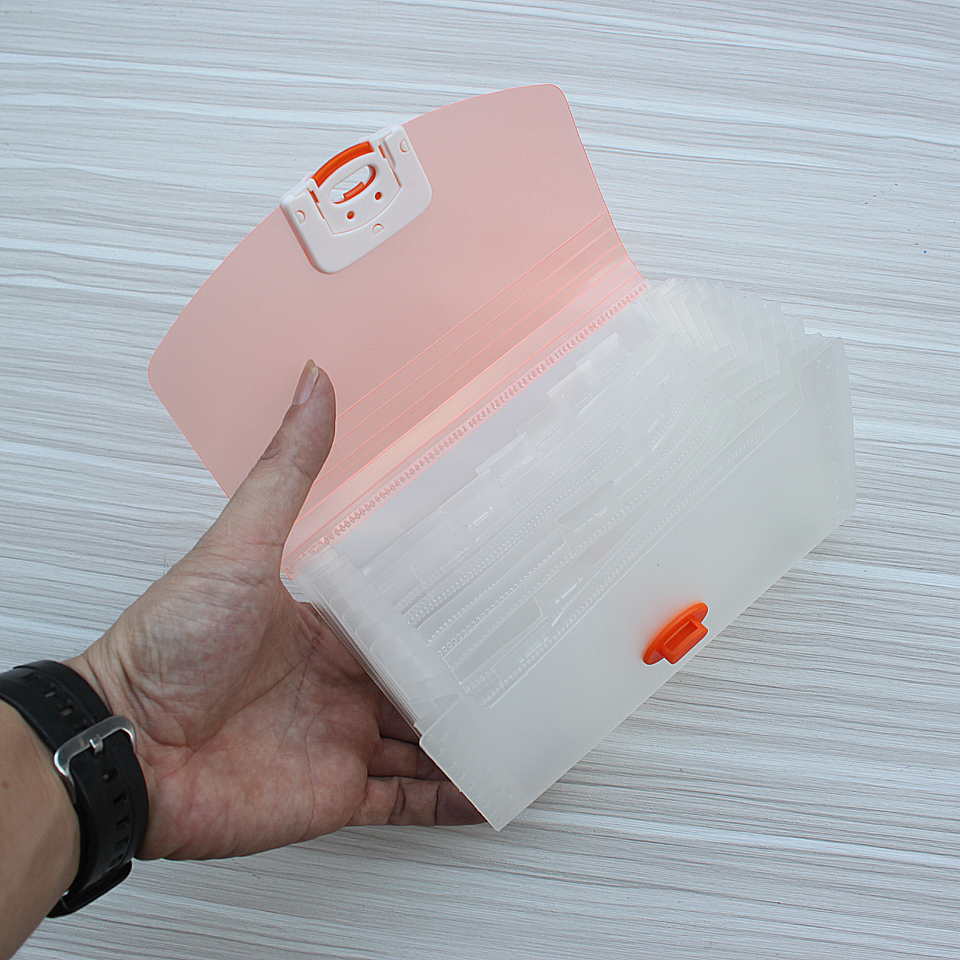 Plastic Candy Color Expanding Wallet 12-Layer Document Bags Ticket Storage Package Student  Office Learning Stationery