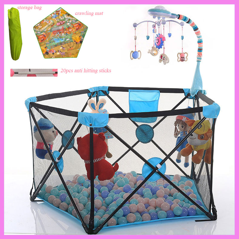 Portable Baby Game Safety Playpen Fence Baby Crawling Mat Playing Pool Metal Kids Activity Gym Playpen Baby Play Gym Playzone 2018 new baby safety fence guard folding kids playpen game playing pit marine ball pool portable children s game tent baby fence