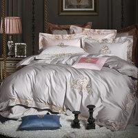 QUEEN KING SIZE White Grey Luxury Bedding set 800TC Egyptian Cotton Duvet Cover Bed sheet/Fitted sheet parure de lit adulte