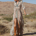 New 2016 Summer Women Ladies Sexy V Neck Bohemian Chiffon Long Dress Vintage Boho Tribal Print Beach Party Maxi Sun Dress Z1