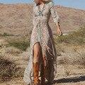 Novo 2016 verão mulheres Ladies Sexy decote em V Bohemian Chiffon vestido longo Boho Vintage Tribal imprimir Beach Party Maxi Sun vestido Z1