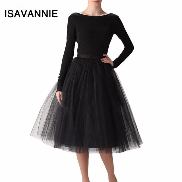 29726e6861 ISAVANNIE Puffy 7 Layers Tulle Skirt Hidden Zipper Summer Style High Waisted  Midi Skirts Womens Tutu Pleated Skirt Faldas Saias