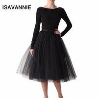 Puffy 7 Layers Tulle Skirt Hidden Zipper Summer Style High Waisted Midi Skirts Womens Tutu Pleated