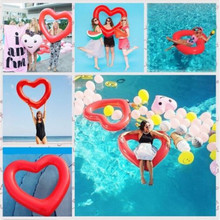 цены на New Love Heart Shaped Inflatable Pool Floating Swimming Ring Summer Wedding Inflatable Pool Float For Child&Adult Water Toys  в интернет-магазинах