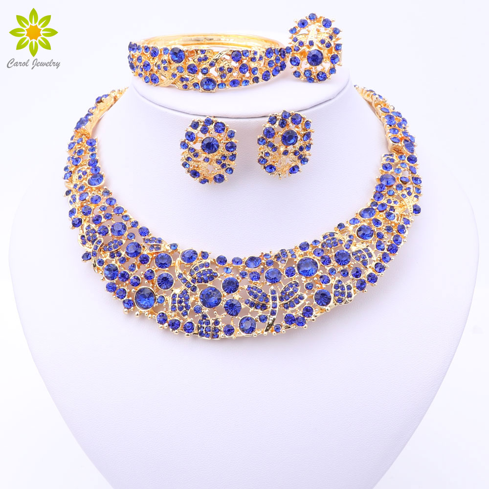 4barevné nigerijské svatební africké korálky šperky sada křišťálově zlatá barva náhrdelník šperky sada svatební doplňky strana pro ženy