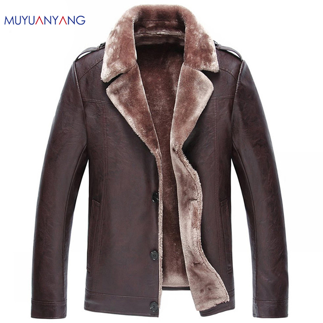2b316ffe762476 3 Color Casual Fur Clothing Leather Jacket Men Winter PU Jackets and Coat  Single Breasted Men's