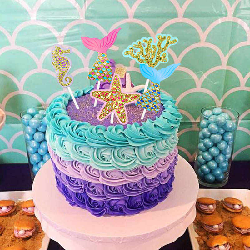 5pcs/set Birthday Glitter Cake Topper Little Mermaid Party ...