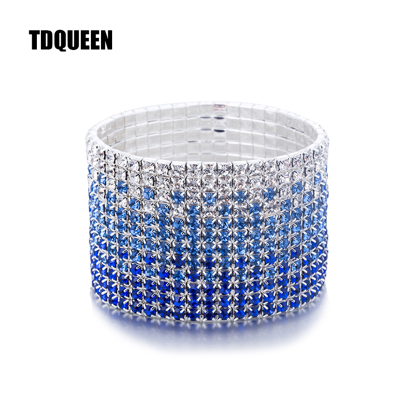 12 Rows Crystal Rhinestone Bangles Bracelet for Women Silver Plated Blue and Clear Crystal Combination Wedding Bracelet (5)
