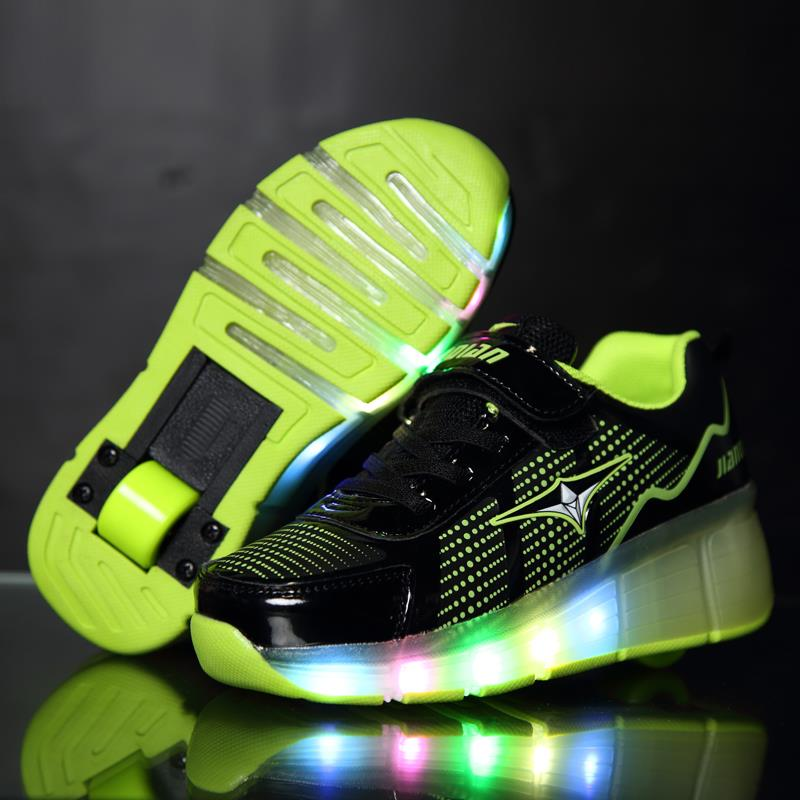 online shop 2016 led design girlboy sport shoes zapatillas con ruedas roller shoes chaussure led enfant kids sneakers with wheels aliexpress mobile