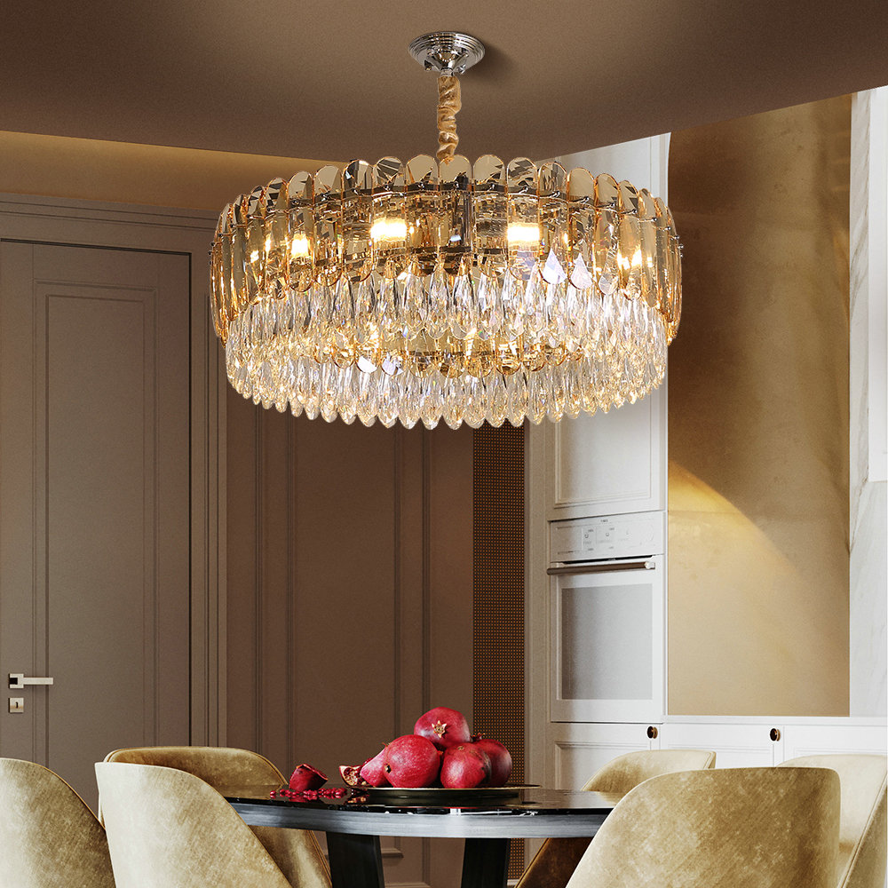 Crystal Chandelier Lighting Round LED Light Fixtures Living Room