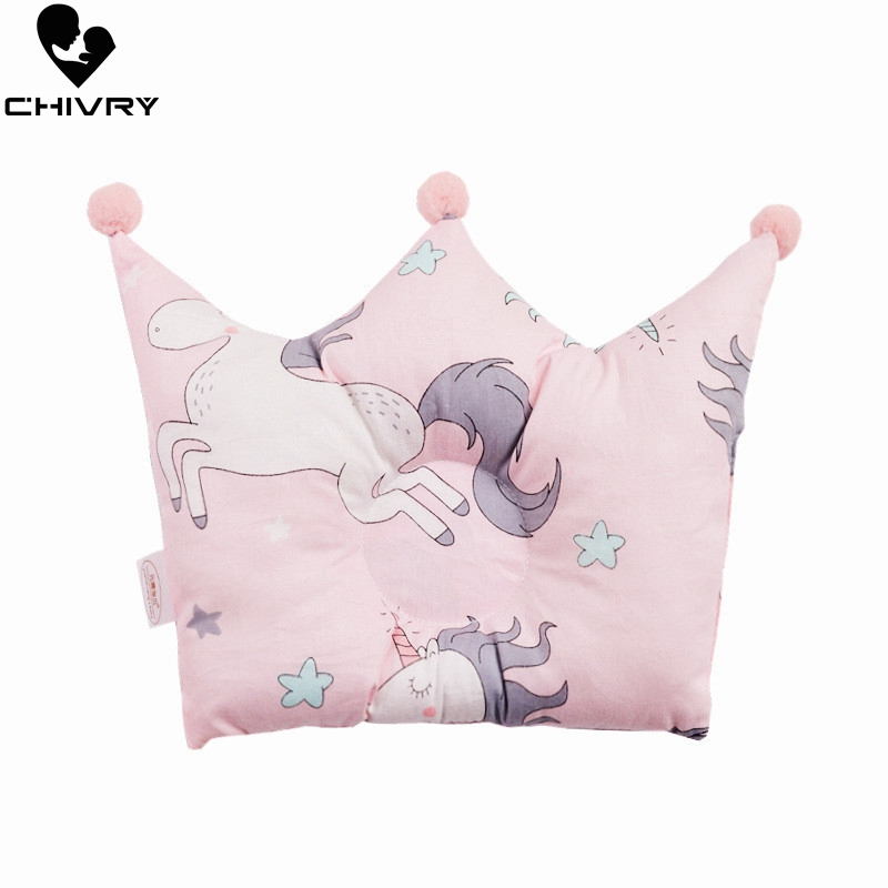 Newborn Shaping Pillows Baby Cattoon Unicorn Pattern Pillow Sleeping Support Prevent Flat Head Cushion Crown Shape Infant Pillow