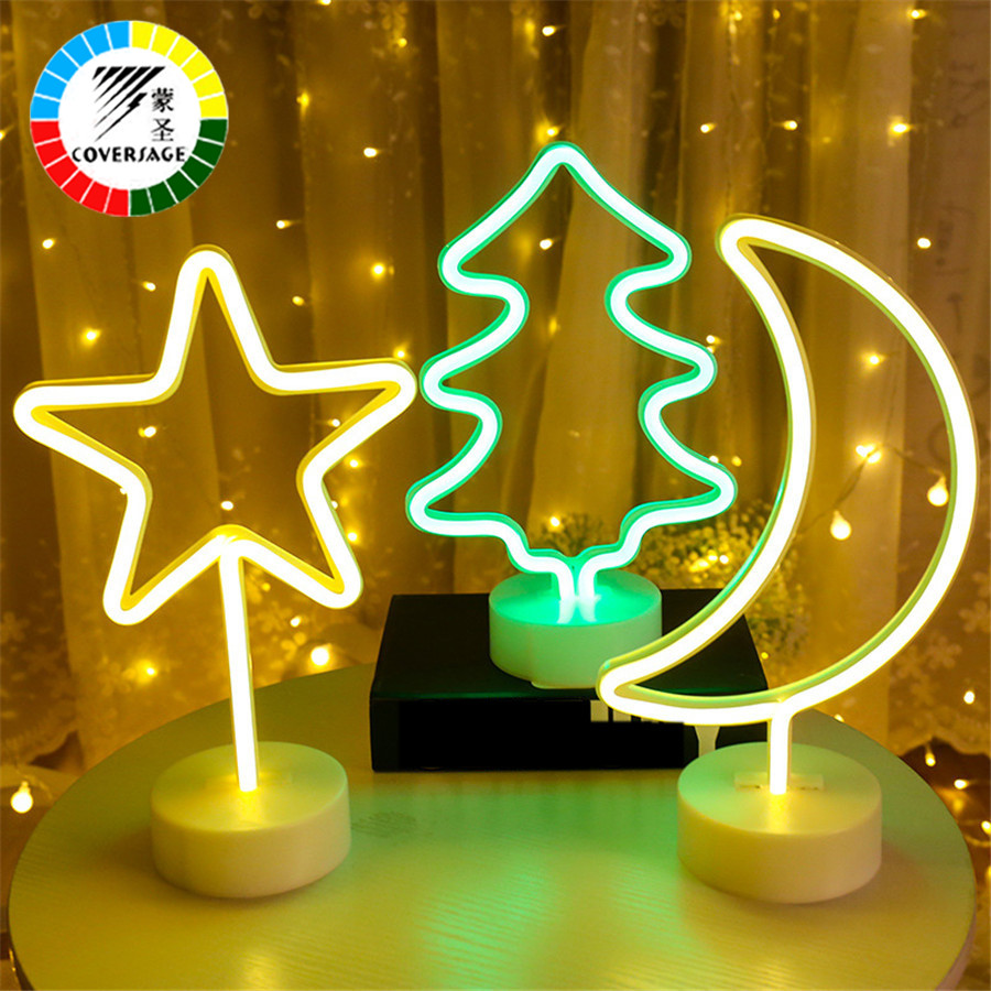 Coversage Night Light 3D Decorative Battery Novel Decorative Bedroom Table Lamp Christmas Tree Battery Powered Lights Decoration