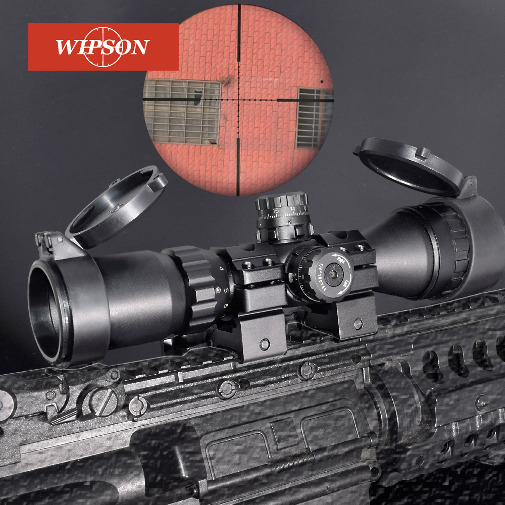 WIPSON Hunting Optical 3-9x32 AO 1inch Tube Mil-dot Compact Riflescope With Sun Shade and QD Rings Tactical Rifle Scope leapers utg 3 9x32 aolmq compact mil dot reticle hunting optics riflescopes locking w sun shade