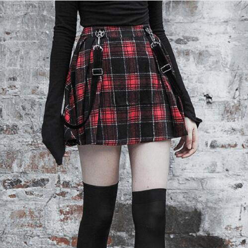 69a1adc7f8f4c5 Mouse over to zoom in. 2018 Autumn Winter Harajuku Gothic Pentagram Black  Red Plaid Skirts Shorts Women'S Pleated Skirt ...