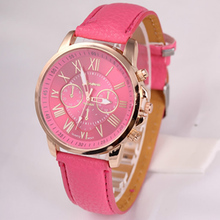 2017 New Fashion Geneva Watches Roman Numerals Faux Leather Quartz Watch Women Men Casual Wrist Watch relogios feminino Hours