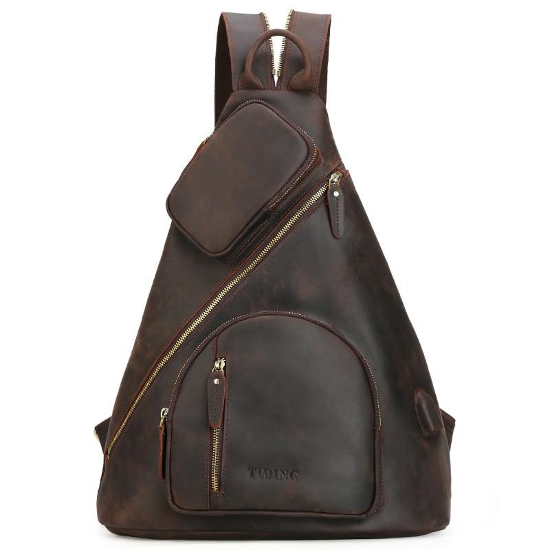 Echte Crazy Horse Leder Brust Tasche Für Männer USB Lade Tasche Pack Mann Sling Crossbody Schulter Tasche Reise Tote Casual handtasche-in Crossbody-Taschen aus Gepäck & Taschen bei  Gruppe 1