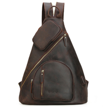 Genuine Crazy Horse Leather Chest Bag For Men USB Charging Bag Pack Man Sling Crossbody Shoulder Bag Travel Tote Casual Handbag