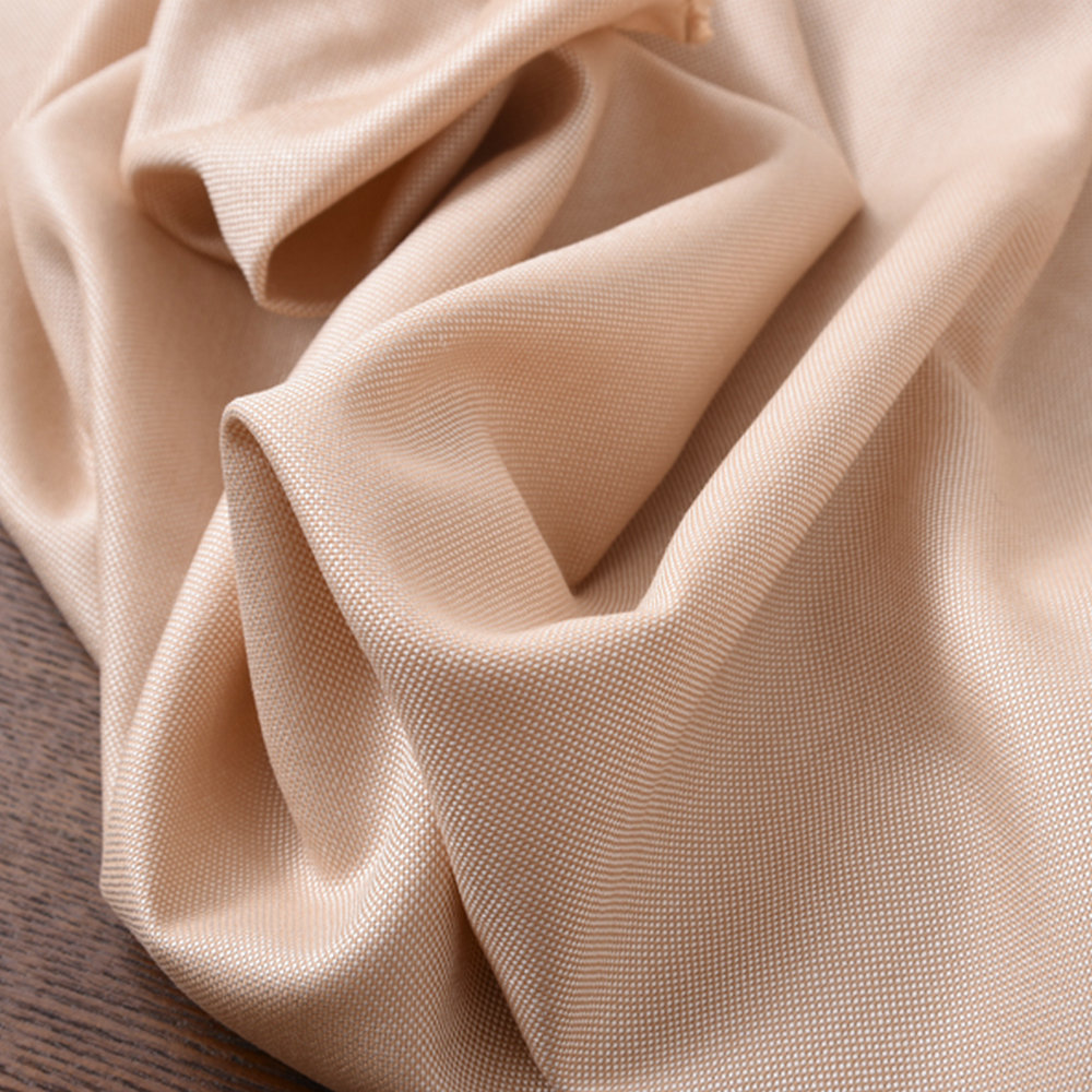 Free Shipping Beige Color Silk Wool Fabric