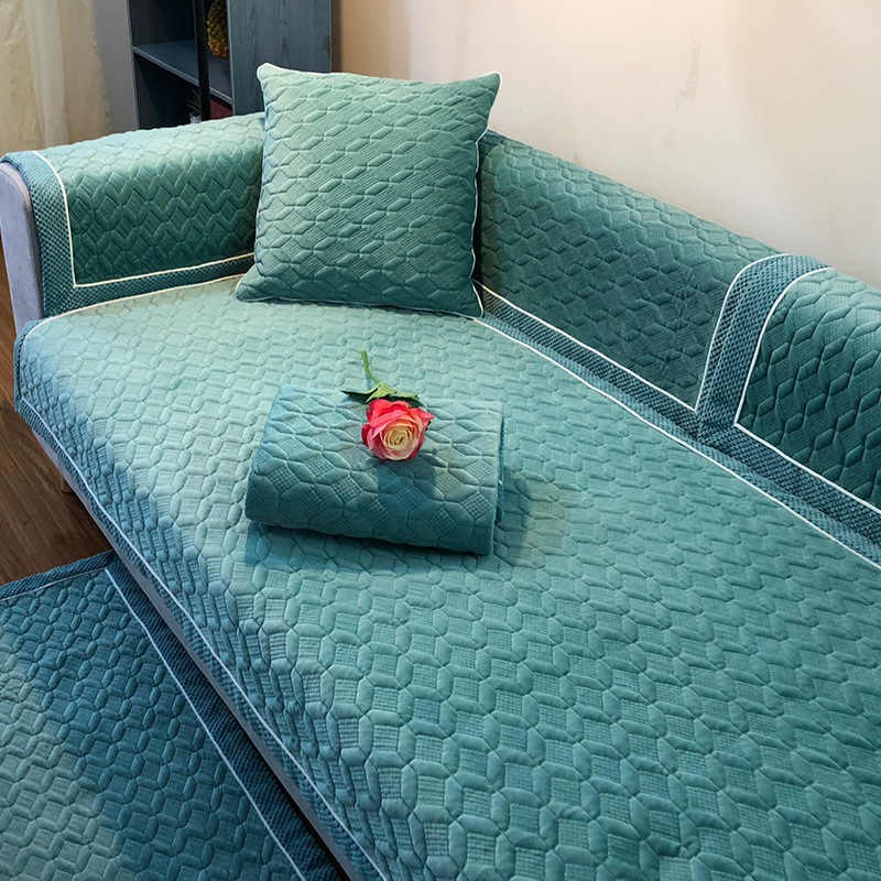 Funda de sofá suave de felpa corta, cubierta de sofá Seccional de esquina, cubierta de cojín de asiento de sofá antideslizante, toalla para sala de estar 1 pieza