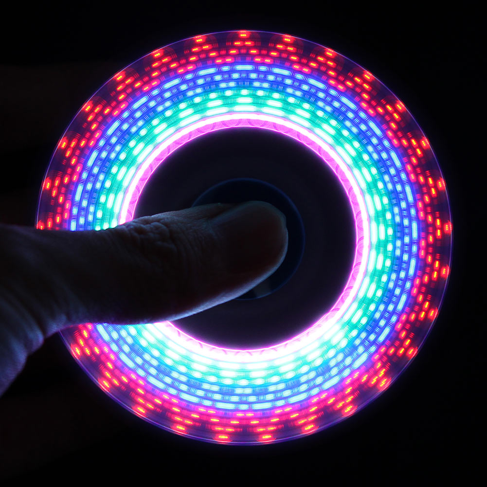 LED USB Rainbow Light Spinner Finger Plastic EDC HandSpinner For Autism and ADHD Relief Focus Anxiety Stress Toys Gift