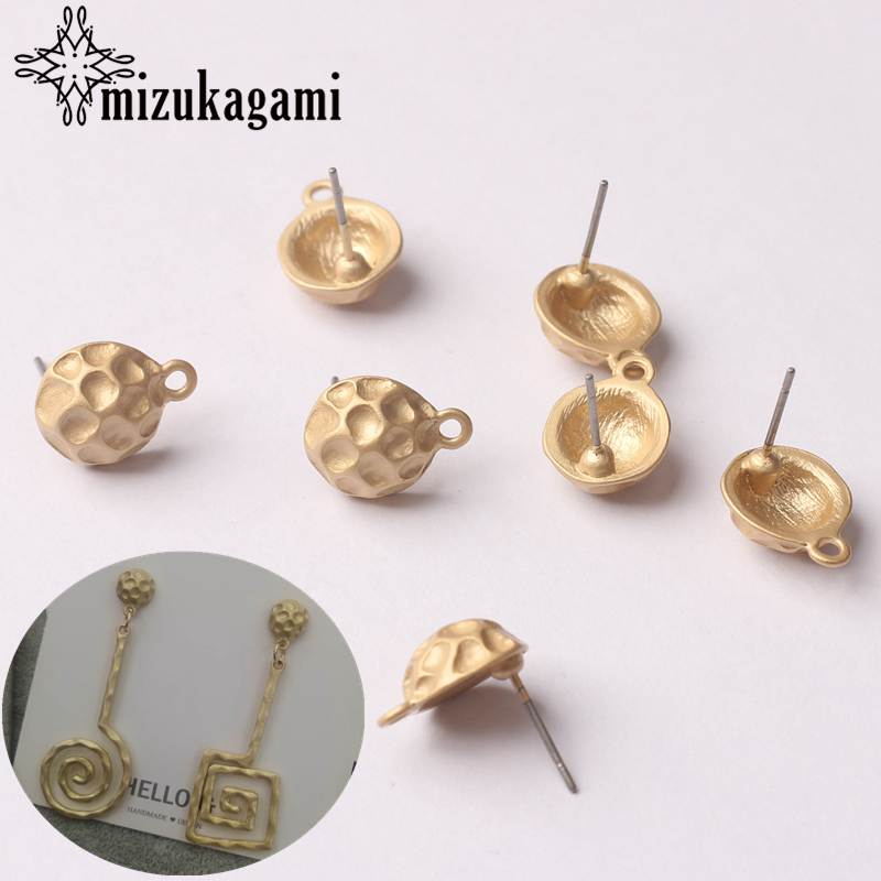 Zinc Alloy Golden Stud Alloy Round Ball Shape Base Earring Connector 10mm 6pcs/lot For DIY Jewelry Earrings Making Accessories