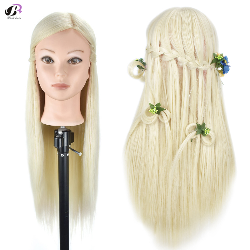 26''Blonde Professional Styling Head Wig Head Stand Women Makeup Hairdressing Dummy Doll Training Mannequin Head fender super sonic 22 head blonde page 2