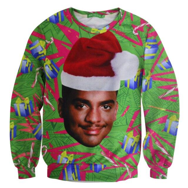 Will Smith With Christmas hat Causal Hoodie Crewneck Fresh Prince Christmas Sweatshirt 3D Carlton Swetshirt Women Men Outerwear