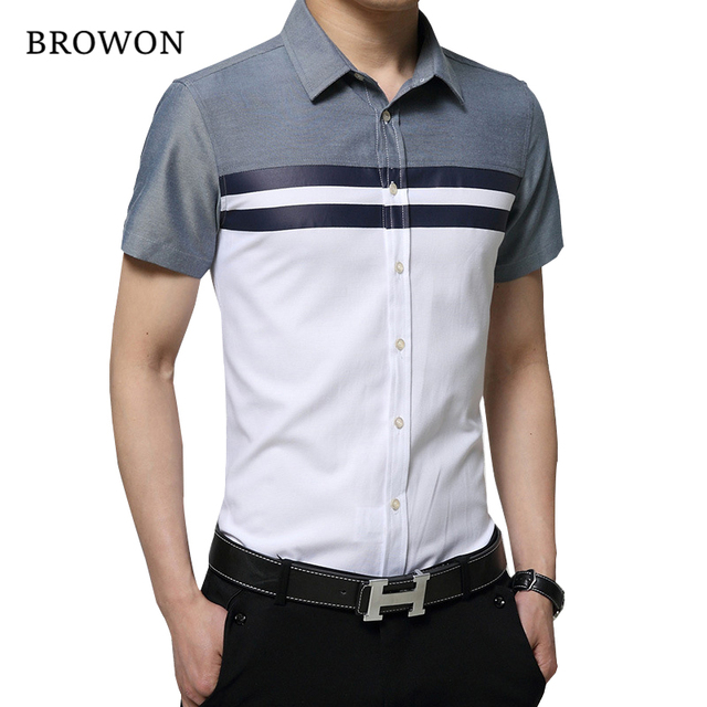 BROWON New Arrival Mens Shirt Fashion Short Sleeve Men Shirt Regular Fit  Striped design Social Shirt