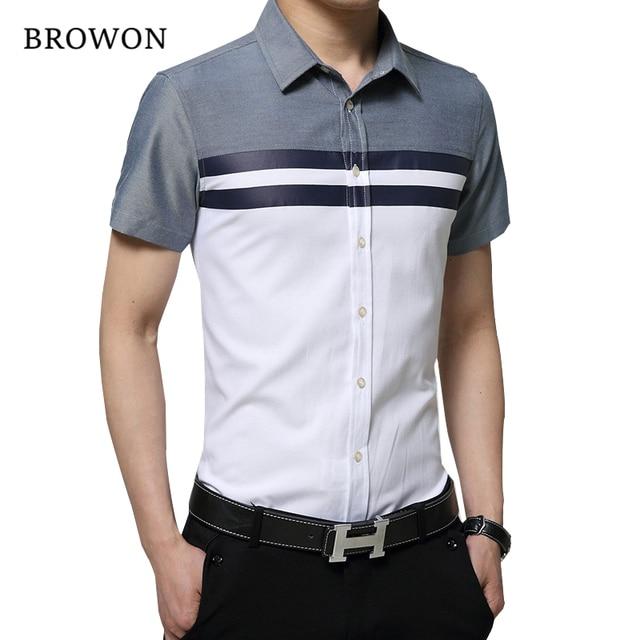 BROWON New Arrival Mens Shirt Fashion Short Sleeve Men Shirt Regular Fit  Striped design Social Shirt