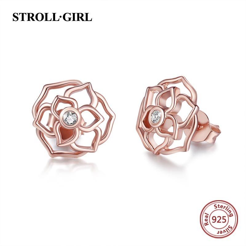 StrollGirl Authentic 925 Sterling Silver Rose Gold Color Luxury Stud Earrings Jewelry Womens 2019