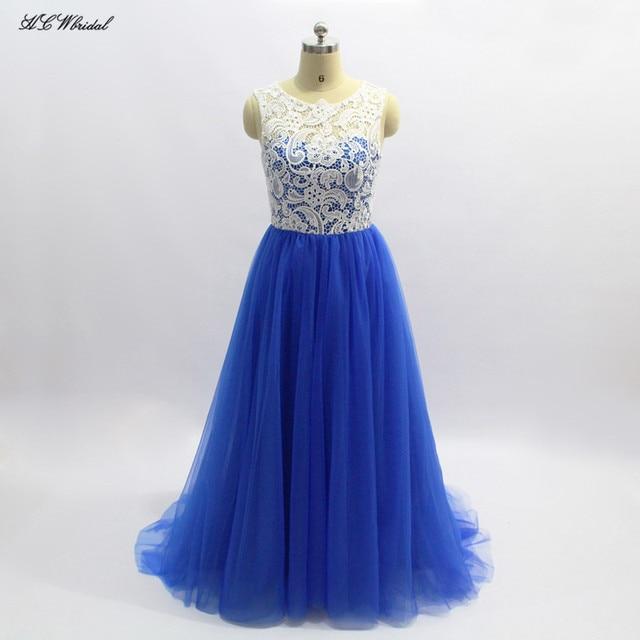 Royal Blue Long Formal Dresses 2018 Cap Sleeve A Line Floor Length ...