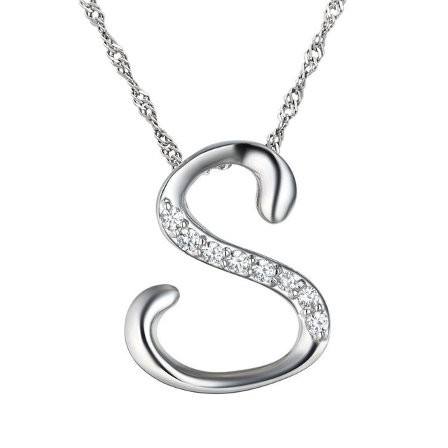 10pcslot high quality silver letter s pendant necklace with 10pcslot high quality silver letter s pendant necklace with clavicle chain fashion necklaces for aloadofball Choice Image
