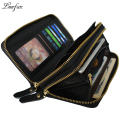 Top layer cowhide Double zipper long wallet with inner phone pocket and zipper pocket Real leather long wallet  hand wallet bag
