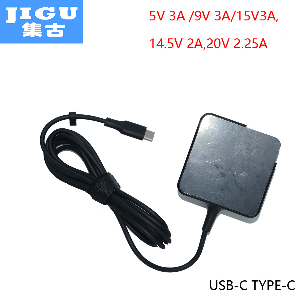 JIGU Fast Charger Type-C Power Adapter 45W 5V 9V 12V 3A 14.5V2A 15V3A 20V2.25A for MacBook