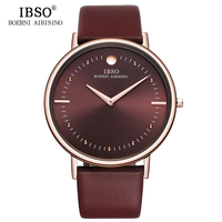 IBSO Fashion 7 5MM Ultra Thin Dial Mens Watches Top Brand Luxury Genuine Leather Strap Quartz