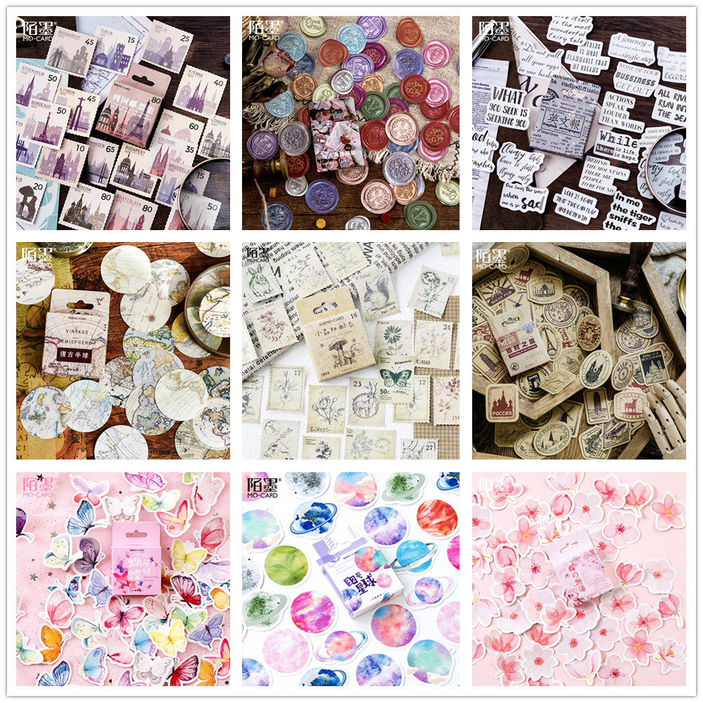 Set of 18 Vintage-Style Travel Stamp Stickers Cards Scrapbooking Travel Journal