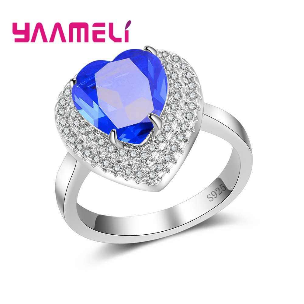 Натуральный 925 пробы Серебряные кольца светло фиолетовый Большие со стразами в
