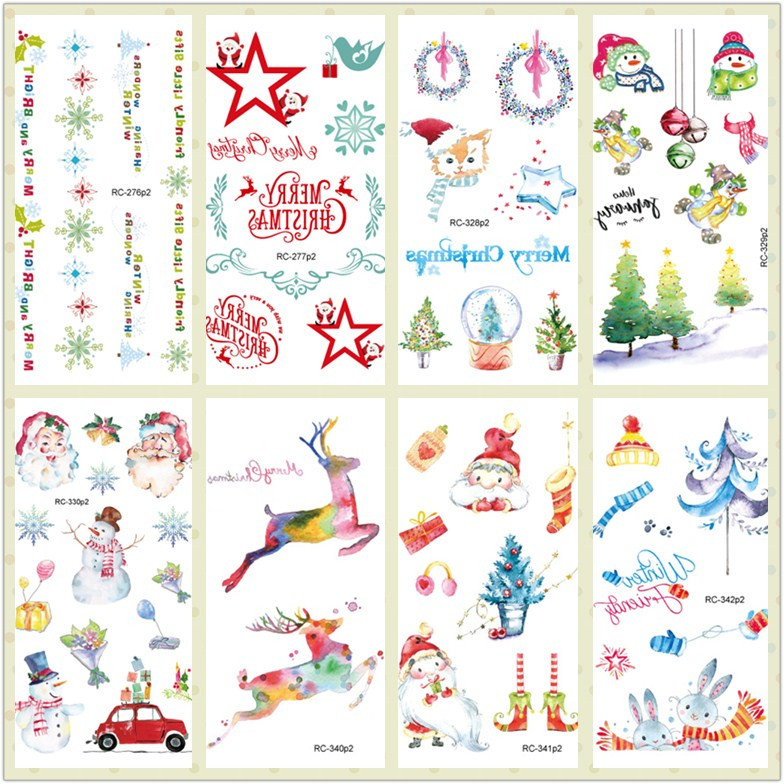Rocooart Christmas Tattoo Sticker Taty For Children Body Art Waterproof Temporary Tattoo Sticker Kids Tattoo Fake Tatouage Santa
