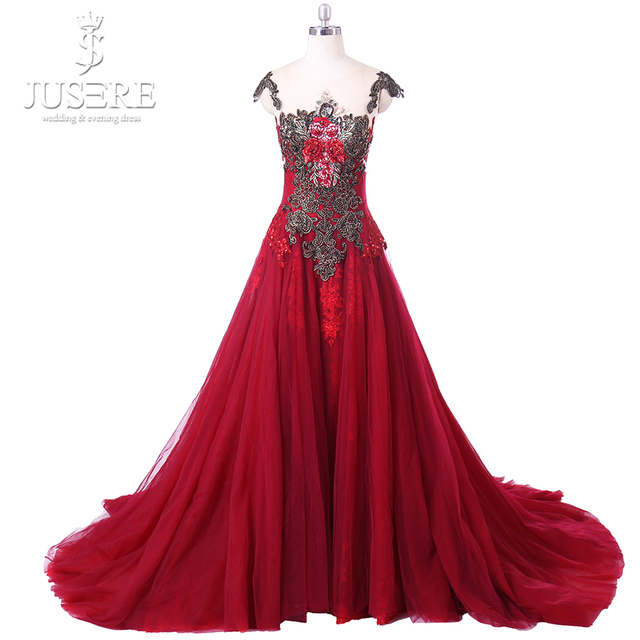 JUSERE V-Back Beads Applique Bodice Open Back A Line Long Evening Dress  Party Elegant Vestido De Festa Fast Shipping Prom Gowns 32c981fd63bf