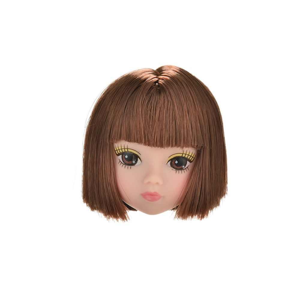 1 peça bonecas acessórios nova moda flaxen estudantes cabeça de cabelo curto perucas para novo s boneca cabeça