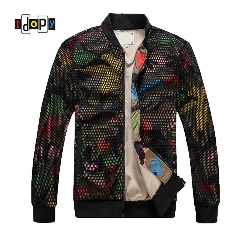 Модные мужские камуфляж куртка выдалбливают desige Slim Fit Камо ветровка бейсбольная куртка и пальто для мужчин