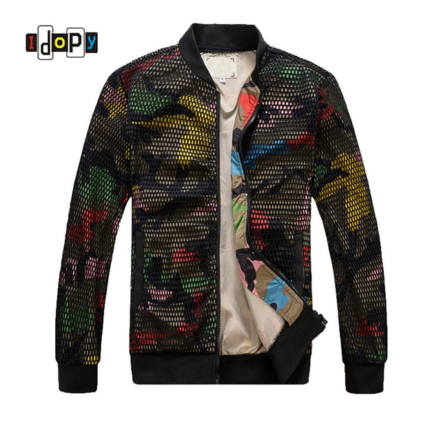 ddd0cfeb65def Fashion Mens Camouflage Bomber Jacket Hollow Out Desige Slim Fit Camo  Windbreaker Baseball Jacket And Coat For Men