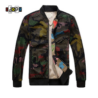 Fashion Mens Camouflage Bomber Jacket Hollow Out Desige Slim Fit Camo Windbreaker Baseball Jacket And Coat For Men