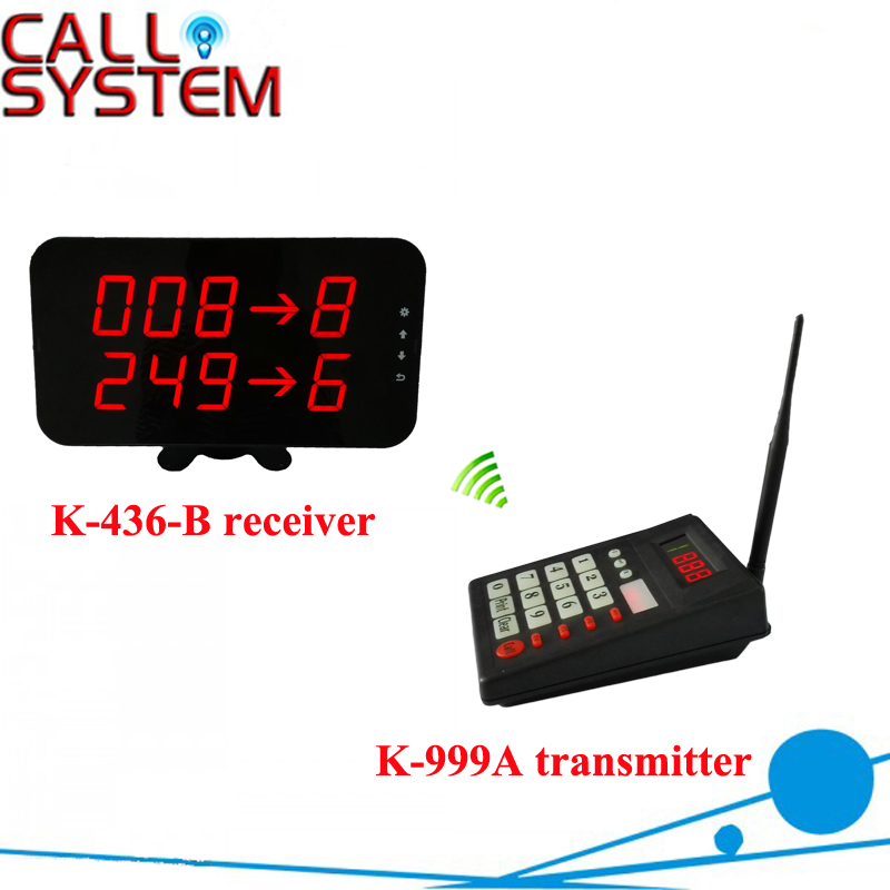 2 lines screen kiosk Wireless restaurant fast food shop Electronic queue calling pager system 1 transmitter 1 receiver
