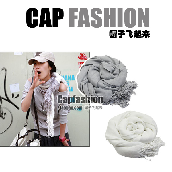 Popular global solid color silk floss ultra long tassel scarf cape